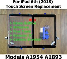 For iPad 6th 2018 A1893 A1954 BLACK Touch Screen Glass Replacement + Home Button