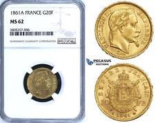 ZG64, France, Napoleon III, 20 Francs 1861-A, Paris, Gold, NGC MS62