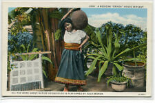 Frau Haus Diener criada mit Wasser Kübel Mexiko 1920s Postkarte