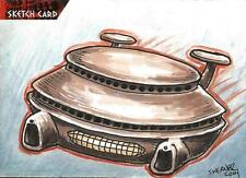 Dr Doctor Who Daleks 2150AD Sketch Card by Joshua Werner of a Dalek Spaceship