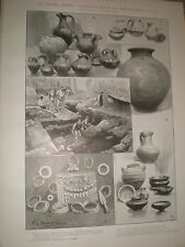 Archaeology objects found by Vesuvius from 700 bc Italy 1903 print ref X