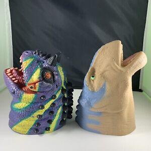 VINTAGE DISNEYS DINOSAUR HEAD HAND PUPPET ALADAR MCDONALDS + Placo 1996 Dino