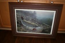 Rick Kelley Fish Print Esox Attack Framed Signed Numbered 708/750 Matted 1977