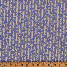 Cabana Blue Anchor on Grey Stripe Nautical Cotton Fabric Print by Yard D474.17