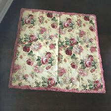 Vintage Rose Floral Fringe Upholstery Tablecloths Fabric French Cottage
