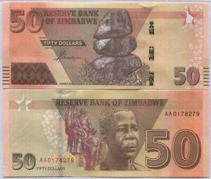 Zimbabwe 50 Dollars 2020/2021 P NEW UNC