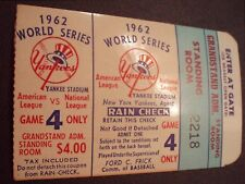 1962 WORLD SERIES GAME 4 Ticket Stub-Yankees vs San Fran Giants