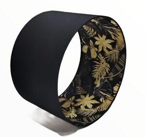 New Luxury Matt Black And Leaves Inner Pattern Lamp Shade Pendant 30 Cm