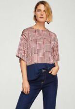 Mango - Ladies Multi Colour Red/Blue Contrast T-Shirt/Blouse Top Uk XS