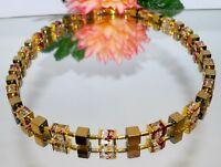 Halskette Würfelkette Cube Hämatit Glas Würfel marmoriert rot gold  068e