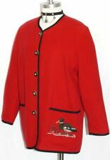 WOOL & CASHMERE /  RED ~ WOOL Women German Dress Walk Sweater JACKET / 38 14 L