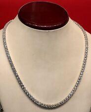 14K White Gold Over 925 - 21 Carat Round Cut VVS1/D Diamond Tennis 4mm Necklace