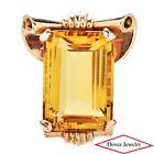 Vintage Retro 21.00ct Citrine 14K Rose Gold Beautiful Brooch Pin 11.8 Grams NR