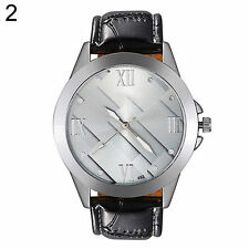 Men`s Quality Silver Quartz Silver Patterned Face Black Band Wrist Watch.