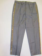NWT J Crew Collection Gray Italian Wool Beaded Tux Stripe Cropped Pants 6 NEW