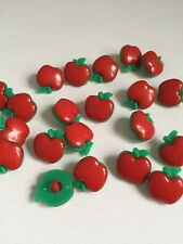 10 pcs 18mm Red Apple Buttons Plastic art. 277