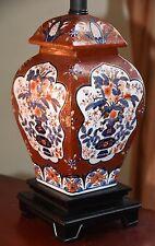 "ANTIQUE VINTAGE IMARI TABLE GINGER JAR LAMP HAND PAINTED RED COBALT GOLD 24""H"