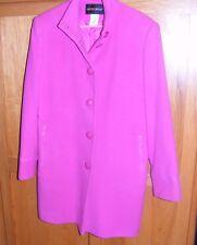 "MetroStyle 100% Wool Women's Button Down Coat, Fuchsia Size 10 - APPROX 35"" LONG"