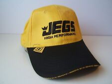 Jegs Higher Performance Hat Black Yellow Hook Loop Baseball Cap