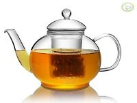 Glass Teapot Heat Resistant with Infuser For Blooming tea 1000ml / 35oz