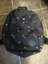 VANS Off the Wall Canvas Backpack Black with white Stars School Bag