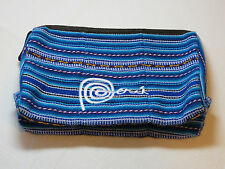 Peru makeup bag pouch purse blue GUC travel case zipper vacation travel stripes
