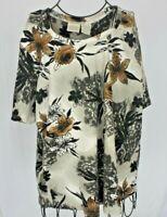St. John's Bay Black Brown Floral Shirt Woman Size 2X