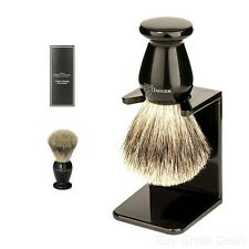 Edwin Jagger Best Badger Hair Shaving Brush Faux Ebony Medium With Drip Stand