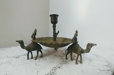 Antique Vtg Ornate Brass Candlestick Holder w/ 3 Camels & 3 Birds