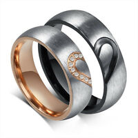 Couple Rings Forever Love Heart Brushed Titanium Steel Wedding Promise Band New