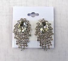 Dangle Silver Clear Rhinestone Crystal CLIP ON Earrings # 5237S Wedding Prom