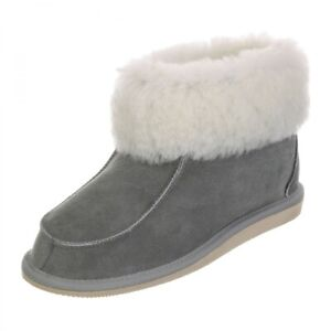 Hollert Men & Ladies Lambskin Slippers Zugspitze Grey fur Shoes Real Leather