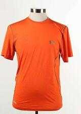 Under Armor Heatgear Orange Polyester Fitted Short Sleeve Activeware Shirt Sz M