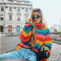 Womens Knitted Rainbow Stripes Turtleneck Oversized Sweater Jumper Tops Size UK