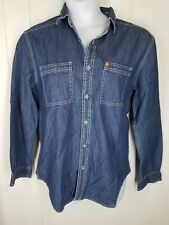 Territory Ahead Jeans Shirt size M womens blue denim button front long sleeve