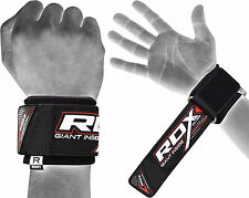 RDX Lifting Straps WEIGHT RUBBER WRIST WRAPS SUPPORT GYM STRENGTH TRAINING AU