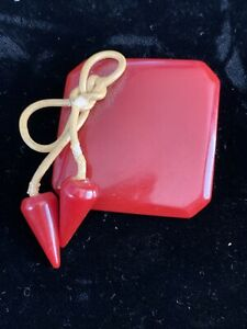 Vintage Button ~ Fabulous Large Carved Cherry Red Bakelite Dangles