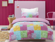 Kids Girls Quilt Doona Cover Pillowcases Set Bella Queen Size Bed Quilted Duvet