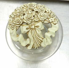 Potpourri Dish, Clear Glass Base, Antiqued Ivory Top, KB China