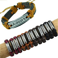 Lot 12pcs Handmade Alloy Tone Adopt Pendant Genuine Leather Hemp Bracelets Gift