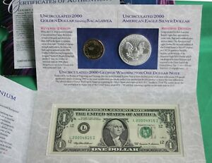 2000 United States Millennium Coinage and Currency Set FRN Sacagawea and ASE