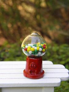 Miniature Dollhouse FAIRY GARDEN Accessories ~ Small Red Metal Gumball Machine
