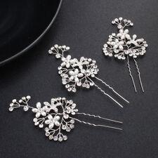 Diamante Boda Accesorios para Cabello Perlas Pasadores Pelo Tocado Plata Clips