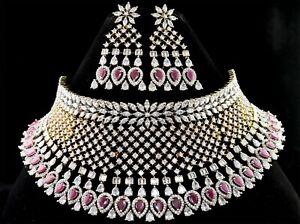 Traditional Bridal Wedding Designer Ruby Necklace Earring Set 120 RN 8