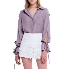 HaoDuoYi Women's Sweet Blouse Purple Slit Lace-up Long Sleeve Shirt Ladies Tops