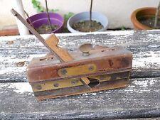 Ancien rabot Bouvet en bois et laiton marquer H.Aziére 3