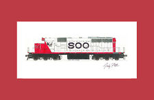 "Soo Line SD40-2 #783 11""x17"" Matted Print Andy Fletcher signed"