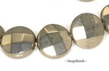 10MM PALAZZO IRON PYRITE GEMSTONE FACETED FLAT ROUND CIRCLE COIN LOOSE BEADS 16""