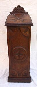 French Carved Wood Baguette Bread Storage Box Cabinet Quimper