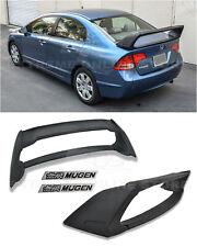 Mugen RR Style ABS Plastic Rear Spoiler W/ Black Emblems For 06-11 Civic Sedan